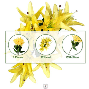 Artificial 12 Head Yellow Lilly Flowers With Stem For Home Decoration, Perfect For Decorating