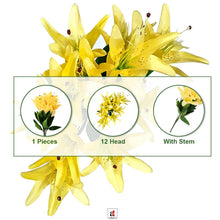 Load image into Gallery viewer, Artificial Flower Bunch with 12 Head Yellow Lilly Flowers with Stem.