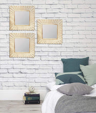 Load image into Gallery viewer, Decorative Square Golden Wall Mirror for Living Room Set of 3