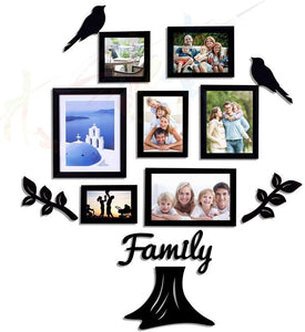 Family Tree Individual Wall Photo Frame With MDF Plaque- (2 Leaf, 1 Trunk, 2 Birds, 1 Family)