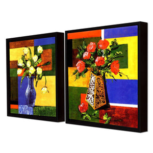 Red & Yellow Floral Print with Pot Framed Canvas Painting