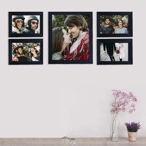 Individual Black Wall Photo Frames Set With Free Hanging Accessories