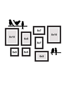 8 Individual Black Wall Photo Frames With Love-Bird's Design MDF Plaque