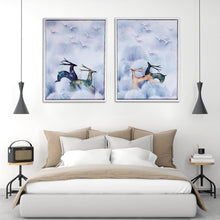 Load image into Gallery viewer, White & Blue Running Deer Framed Canvas Painting