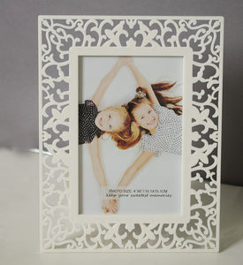 Decoralicious White Designer Royal Table Top Photo Frame Perfect For Office & Home Decor
