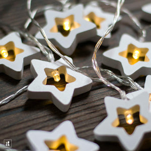 10 Bulb Wooden Five Pointed Star Shape LED Decorative String Light Battery Powered || Warm White || 2 Meter ||