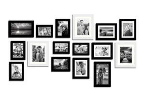 Shooting Star 16 Individual Black Wall Photo Frames Set Wall Decor