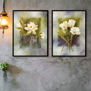 Floral Theme Set of 2 Framed Canvas