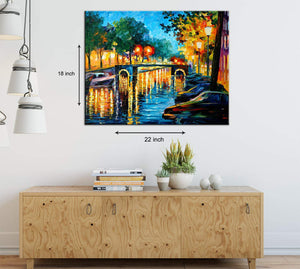 Art Street Autumn Reflections in Amsterdam Evenings Art Print,Landscape Canvas Painting