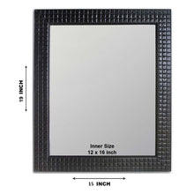 Load image into Gallery viewer, Black Flat Decorative Wall Mirror/Looking Glass Inner Size 12 x 16 inch, Outer Size 15 x 19inch