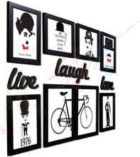 Load image into Gallery viewer, Set of 8 Individual Black Wall Quotes Framed Wall Poster with Art Prints + Live Laugh Love Cutout # Wallessential