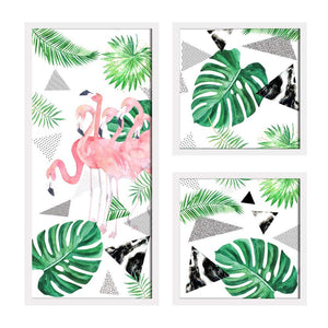 Art Street Flamingo Theme in Framed Printed Set of 3 Wall Art Print, Painting