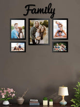 Load image into Gallery viewer, 5 Individual Black Wall Photo Frames With Family MDF Plaque
