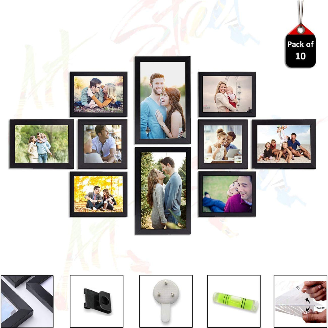 10 Individual Black Wall Photo Frames Wall Decor Set