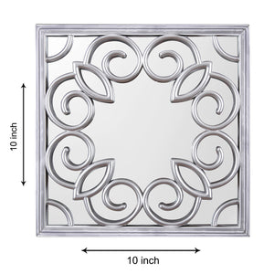 Silver Square Decorative Wall Mirror/Looking Glass (Set of 3)(Size - 10 x 10 inch)