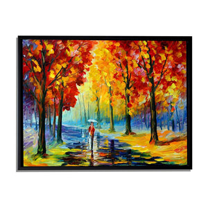 Art Street A Walk in The Rain Art Print,Landscape Canvas Painting