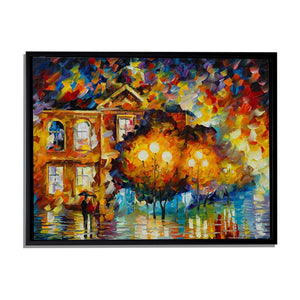 Art Street City Night Abstract Art Print,Landscape Canvas Painting