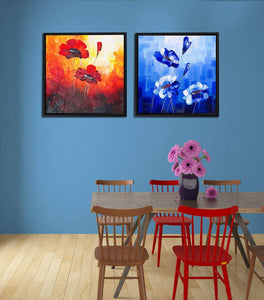 Red & Blue Floral Print Framed Canvas Painting