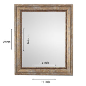 Beige Rectangle Synthetic Wall Mirror Inner Size 12X16 inch, Outer Size 15X18
