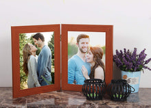 Load image into Gallery viewer, MDF Brown Twin Connected Table Photo Frame Set For Home Decor