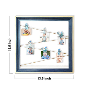 Wooden MDF Baby Boy Photo Hanging Frame With Photo Hanging Clip - Blue