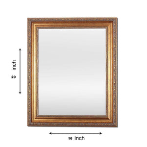 Gold Rectangle Synthetic Royal Decorative Wall Mirror Inner Size 12X16 inch, Outer Size 15X18