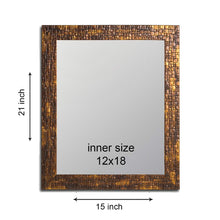 Load image into Gallery viewer, Lavaliere Fiber Wood Wall Mirror Inner Size 12 x 18 inch, Outer Size 15 x 21 inch -Antique Copper