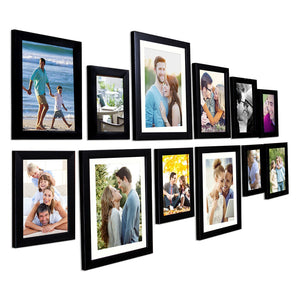 Black Wall Photo Frames Set of 12