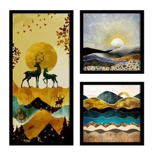 Art Street Forest Theme in Framed Printed Set of 3 Wall Art Print, Painting