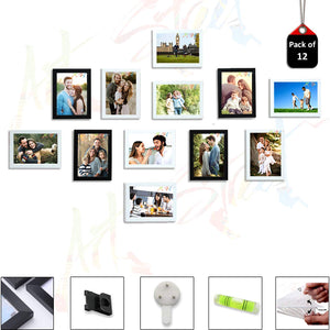12 Individual Black & White Wall Photo Frames Wall Decor Set