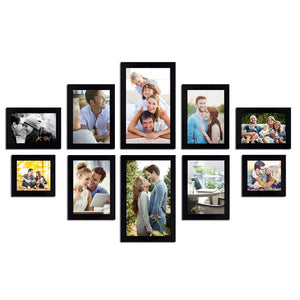 Black Wall Photo Frames Set of 10