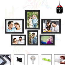 Load image into Gallery viewer, 6 Individual Black Wall Photo Frames Wall Decor Set