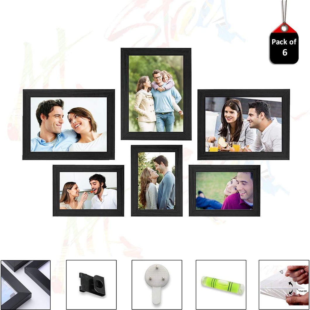 6 Individual Black Wall Photo Frames Wall Decor Set