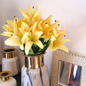 Artificial Flower Bunch with 12 Head Yellow Lilly Flowers with Stem.