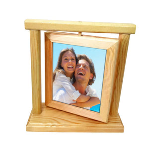 Rotating Photo Frame Double Sided Wooden Picture Frame 5'' x 7'' Inch.