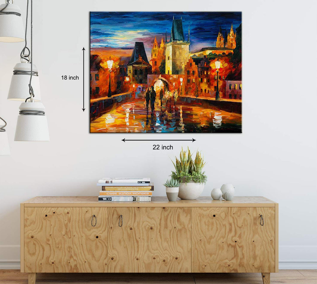 Art Street Night in Prague Art Framed Canvas Painting,Landscape Art Print