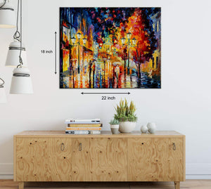 Art Street City Night in The Rain Art Print,Landscape Canvas Painting
