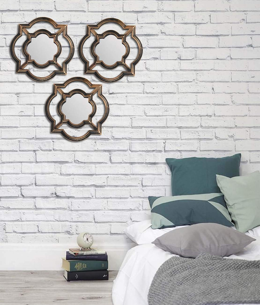 Art Street -Set of 3 Beautiful Large Mirror Decorative in Round Shape (11 x 11 Inchs)