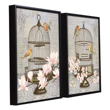 Load image into Gallery viewer, Floral Bird Theme Set of 2 Framed Canvas