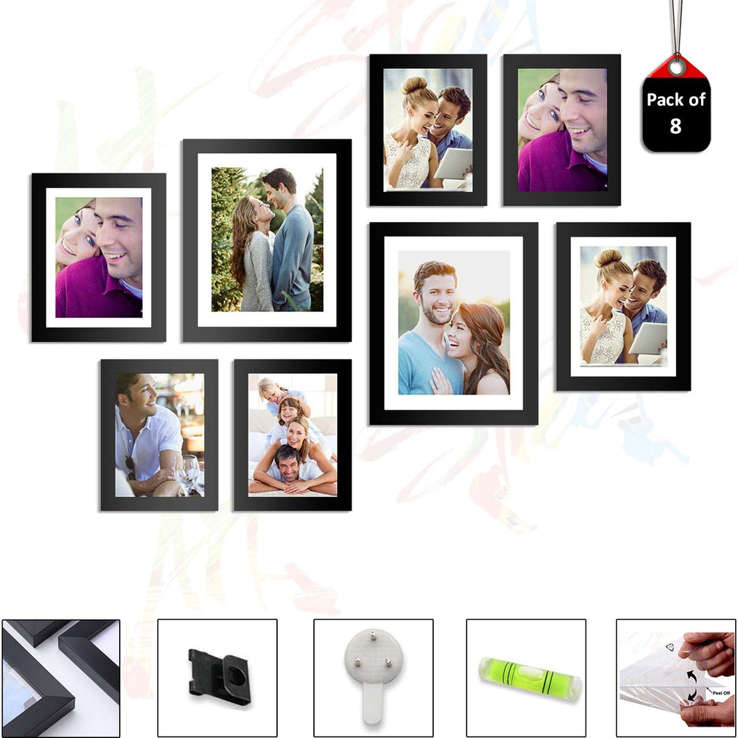 Set of 8 Individual Black Wall Photo Frames