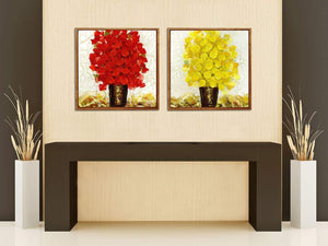 Red & Yellow Floral Print Framed Canvas Painting