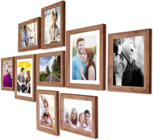Natural Cave Premium Brown photo frames for wall ,living room ,Gift - set of 9 .