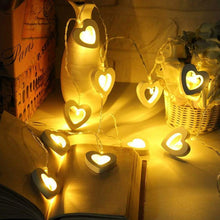 Load image into Gallery viewer, 10 Wooden Love Shape LED Bulb Decorative String Light Battery Powered, Color - Warm White