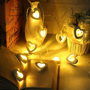 10 Wooden Love Shape LED Bulb Decorative String Light Battery Powered, Color - Warm White