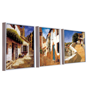 Village Art Theme Set of 4 Framed Canvas