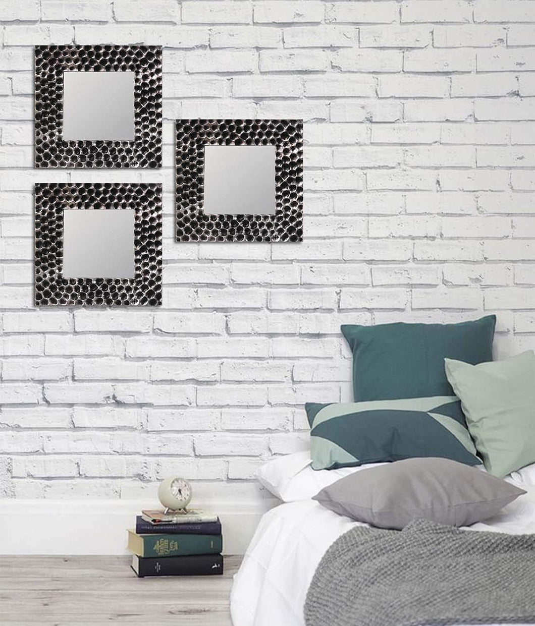 Art Street -Set of 3 Black  Mirror Decorative in Square Shape (10 x 10 Inchs)