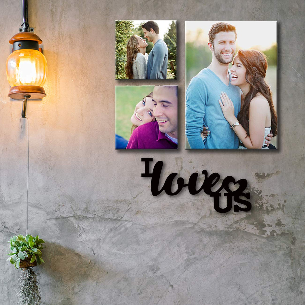 Art Street Personalized Photo to Canvas Print Wall Art Print with MDF Plaque Set of 3- 5X5 ||8X12 Inches