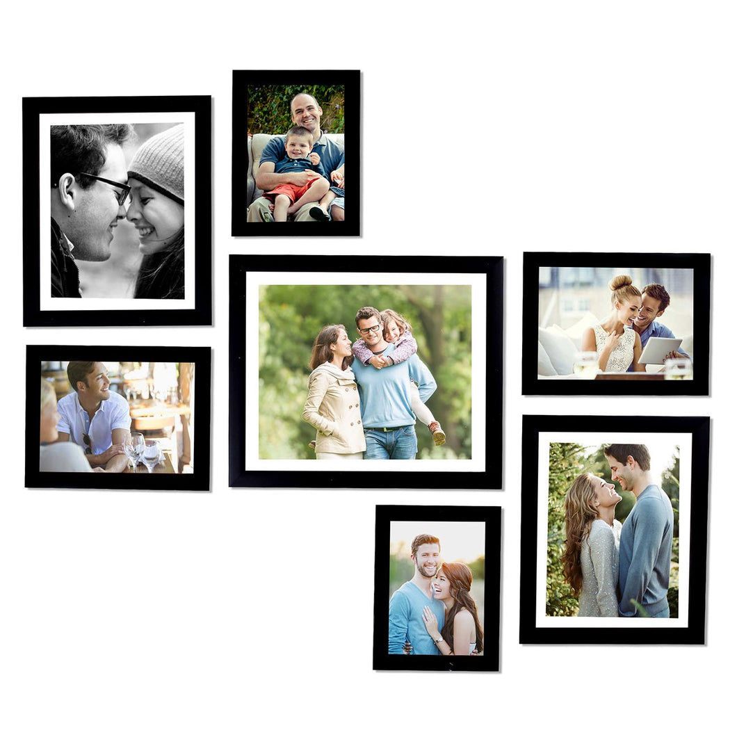 Black Wall Photo Frames Wall Set of 7