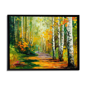 Art Street Amidst The Forest Art Print,Landscape Canvas Painting