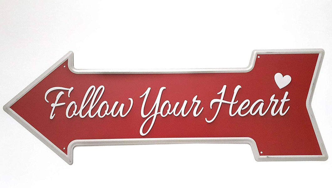 Metal Tin Sign Follow Your Heart Signal Bar Pub Vintage Retro Poster Cafe Art